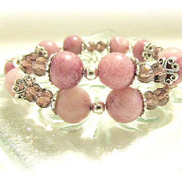 Vintage Style Lavender Quartz and Crystal Wrap Memory Wire Bracelet - Wedding Bracelet, Spring Trends, purple, rose, pink