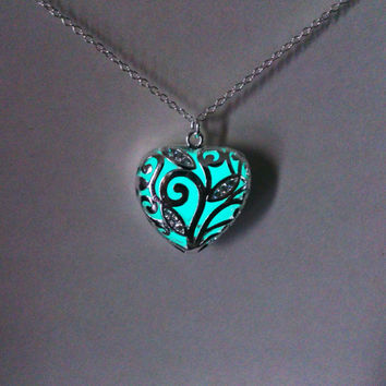 Aqua Glowing Necklace, Glowing Jewelry,  Glow in the Dark Heart Pendant, Gift for Her