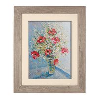 Bouquet of Poppies and Daisies in Glass Vase Original Oil Painting Still Life White Yellow Flowers Living room Wall decor Palette knife Art