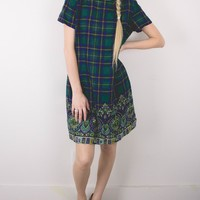 Vintage 80s Plaid Paisley Mini Shift Dress