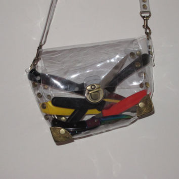 clear vinyl purse by YARD666SALE on Etsy