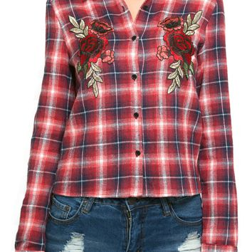 Rose Fishtail Flannel Shirt in Red