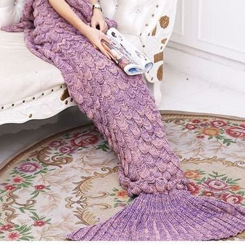 Purple Red Soft Comfortable Knitted Mermaid Sofa Blanket