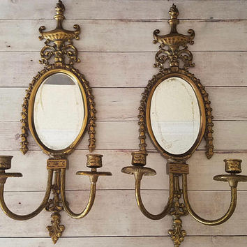 Large Brass Mirror Wall Sconces/ French Country/ Ornate Brass Wall Sconces/ Vintage  Wall