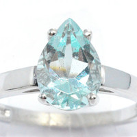 2 Carat Aquamarine Pear Ring .925 Sterling Silver Rhodium Finish White Gold Quality