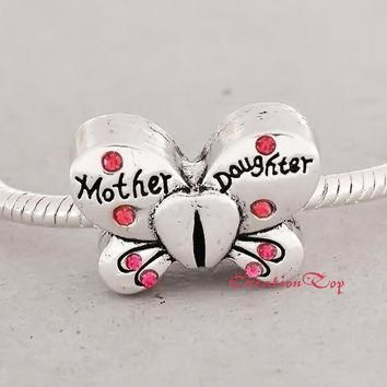 SALE Charm for any Pandora bracelet with stones, butterfly shape, Mother & Daughter st