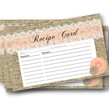 Recipe Card - printable recipe cards - bridal shower printable - shower recipe cards - printable recipes rustic peach coral shabby chic