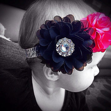 Baby Headband in Zebra, Black and Hot Pink - Baby Girl Accessories - Big Flower Headband - Trendy Headband - Infant & Toddler Headband