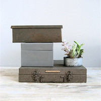 Vintage Collection Metal Boxes by lovintagefinds on Etsy