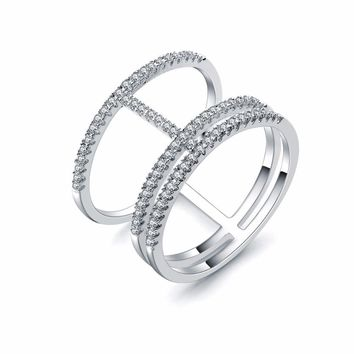 Simple Classic Finger Rings for Woman Rhinestones Paved Cocktail Ring Size 6 7 8 9 for Women SJ112417 ZK20