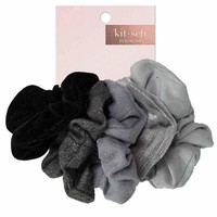 Velvet Scrunchies - Black/Grey