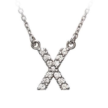 1/8 Cttw Diamond & 14k White Gold Block Initial Necklace, Letter X