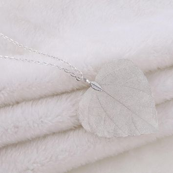 LOVBEAFAS Unique Long Pendant Necklace Women Jewelry Chain Love Best Friend Heart Natural Real Leaf Wedding Necklace Party Gift
