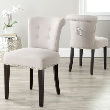 Safavieh En Vogue Dining Carrie Taupe Linen Side Chairs (Set of 2) | Overstock.com Shopping - The Best Deals on Dining Chairs