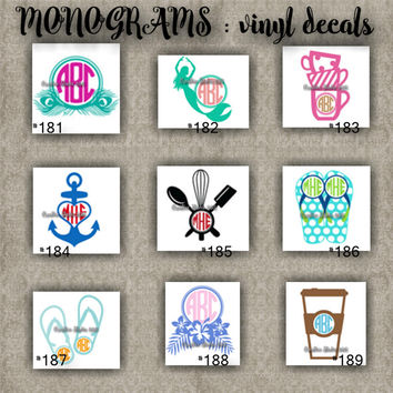 MONOGRAM vinyl decals | name | initial | decal | sticker | car decals | car stickers | laptop sticker - 181-189