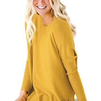 Mustard Oversize Fit Pocket Sweater Tunic