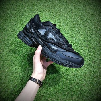 Raf Simons x Adidas Consortium Ozweego 2 Monochrome black 2018 Women Men Casual Trending Running Sports Shoes Sneakers