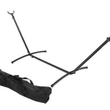Portable Black Brazilian Hammock Stand With Carrying Case with Steel Tube Frame