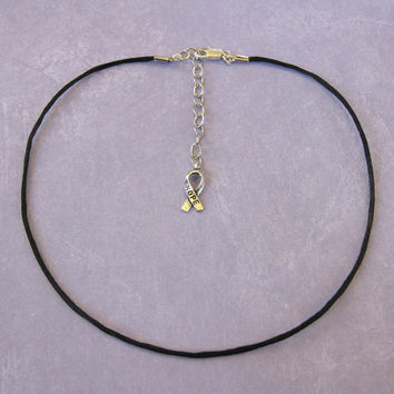 "22"" to 24"" Adjustable Black Satin Cord Necklace With Hope Ribbon Decoration - 201 -3"
