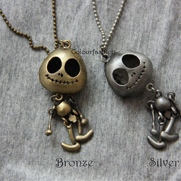 Bronze Silver Robot, Antique Pocket, Skull, E.T Pendant, Antique Jewelry, Long Chain Necklace, Gift for Lover  SC-9