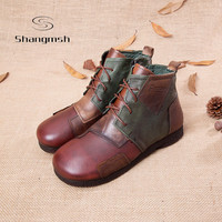 Fashion Handmade Boots For Women Genuine Leather Ankle Shoes Vintage Mom Shoes Retro Folk Style Sapphire Boots