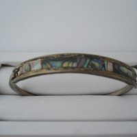 Abalone Inlay Top Latch Cuff Bracelet Mexico Alpaca Silver Bracelet