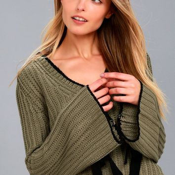 Verses From The Heart Olive Green Bell Sleeve Knit Sweater