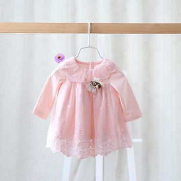 2016 spring autumn brand children's wear dress for girls gauze lace dress baby sweet princess dress for girls baby clothes