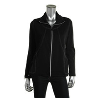 JM Collection Womens Petites French Terry Metallic Stich Jacket
