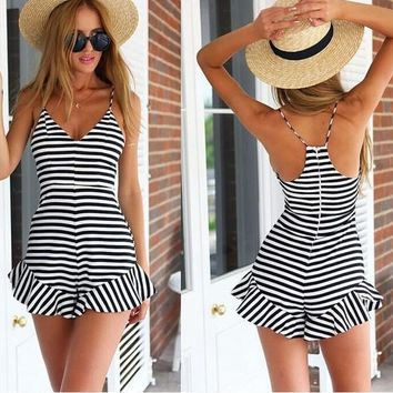Summer fashion Women sexy Black and white stripes Sling sleeveless V-neck Jumpsuit shorts Beach Playsuits Coverall Siamese culottes shorts pants = 5657661057