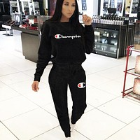 Champion Autumn And Winter New Fashion Letter Sports Leisure Long Sleeve Top And Pants Two Piece Suit Black