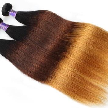 3 Pcs straight Human Hair Peruvian Ombre Remy Human Hair Weave T1B/4/30