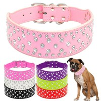Fashion Jeweled Rhinestones Pet Dog Collars Sparkly Crystal Diamonds Studded PU Leather Collar For Medium & Large Dogs Pitbull