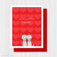 Cat Valentine Card Cute Valentines Day Love Cards Romantic Pun Funny Fun Handmade Greeting For Wife Husband Girlfriend Boyfriend Purrfect