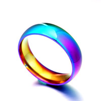 Men Women Rainbow Colorful Ring Titanium Steel Wedding Band Ring Width 6mm Size 6-12 Gift