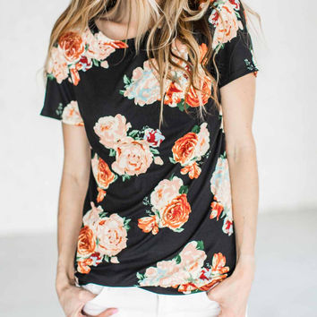 Streetstyle  Casual Casual Round Neckline Cute Little Floral Print Top
