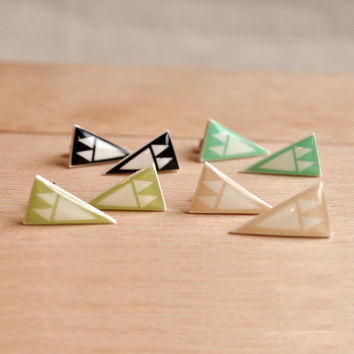 Mini Arrowheads Stud Earrings - 4 Color Choices- Pastels - Hypoallergenic Surgical Stainless Steel Post Earrings