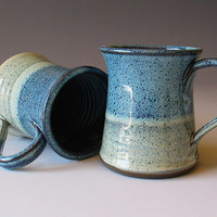 MADE TO ORDER - Pottery Mug - Dual Color Mugs - Blue - Ombre - White - Stoneware Mug - Coffee Cup - Tea