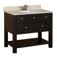 Shop allen + roth Hagen Espresso Undermount Single Sink Bathroom Vanity with Engineered Stone Top (Common: 36-in x 21-in; Actual: 36-in x 21-in) at Lowes.com