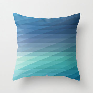 """20""""x20"""" Blue Geometric Striped Throw Pillow COVER ONLY"""