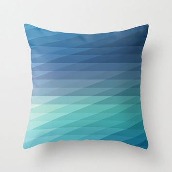 "20""x20"" Blue Geometric Striped Throw Pillow COVER ONLY"