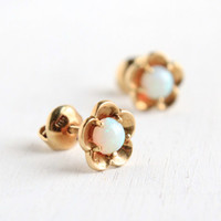 Vintage 18k Yellow Gold Opal Earrings- 1940s Floral Post Back Pierced Earring Jewelry