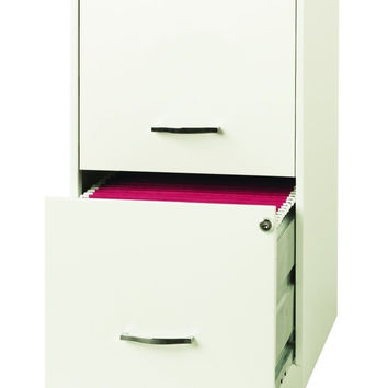 Space Solutions 2-Drawer File Cabinet 18-Inch Deep Pearl White