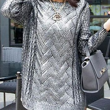 New Silver Patchwork Sequin Round Neck Fashion Pullover Sweater
