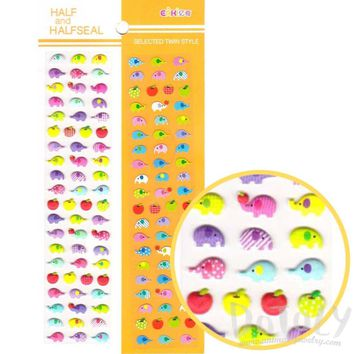 Tiny Colorful Elephants Shaped Animal Themed Puffy and Flat Stickers