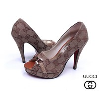 GUCCI Women Fashion Fish mouth Heels Shoes