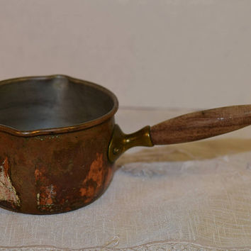 Copper Butter Pot Vintage Butter Warmer Wood Riveted Handle Double Spouts Copper Dish Country Kitchen Rustic Farmhouse Copper Collectible