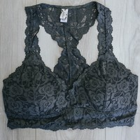 Lace & Grace Bralette - Charcoal
