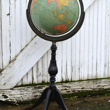 World Globe, Antique World Globe, Replogle Globe, Floor Globe, Replogle 12 inch Globe, Standard by Replogle, 1940's Globe, Vintage Office