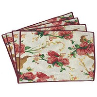 Tache Floral Red Roses Birds Ivory Woven Tapestry Placemat (18109)